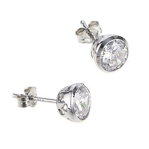 9ct white gold 5mm cubic zirconia stud earrings - Product number 6516440