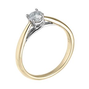 9ct gold heart set 1/4ct diamond solitaire ring - Product number 6533213