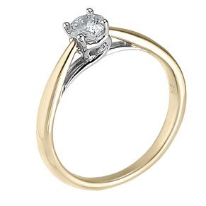 9ct gold heart set third of a carat diamond solitaire ring - Product number 6533345