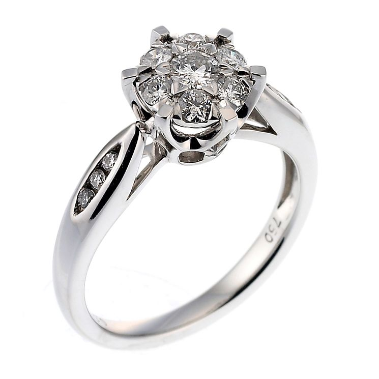18ct white gold 0.50ct diamond cluster ring - Product number 6536409