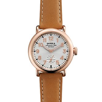 Shinola Runwell 36 mm Ladies' Rose Gold Plated Strap Watch - Product number 6548989