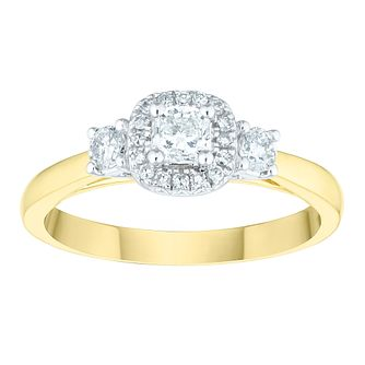 9ct Yellow Gold 1/2 Carat Three Stone Diamond Halo Ring - Product number 6603963