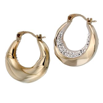 9ct Gold Crystal Creole Earrings - Product number 6624251