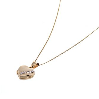 "9ct Gold Diamond Set 10mm Heart Locket with 18"" Chain - Product number 6625983"
