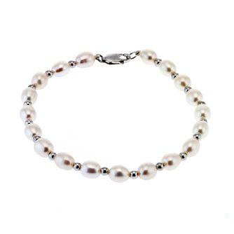 9ct White Gold Bead and Cultured Freshwater Pearl Bracelet - Product number 6637175