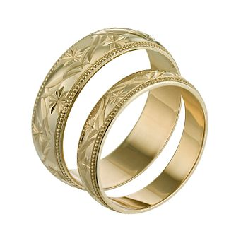 9ct Yellow Gold Patterned Ring Pair - Product number 6650228