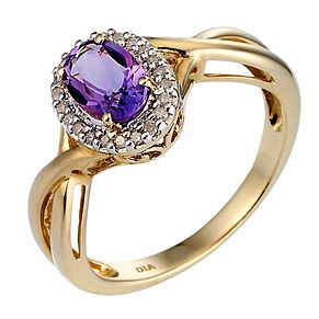9ct Yellow Gold Rhodium Plated Diamond Amethyst Ring - Product number 6670032