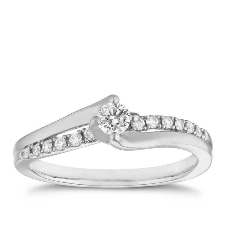 18ct white gold 0.25ct diamond solitaire ring - Product number 6674895