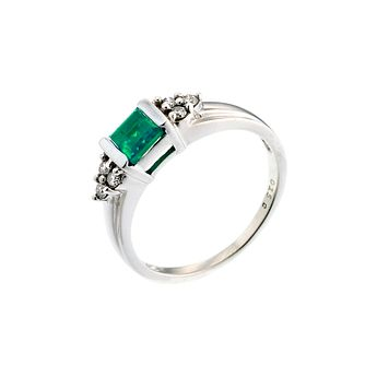 9ct white gold created emerald and diamond ring - Product number 6699936