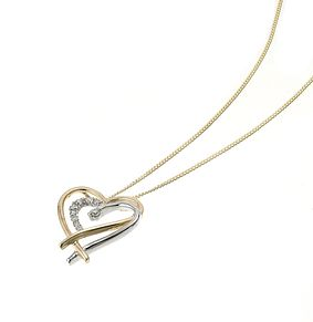 9ct gold two colour diamond set double heart pendant - Product number 6724396