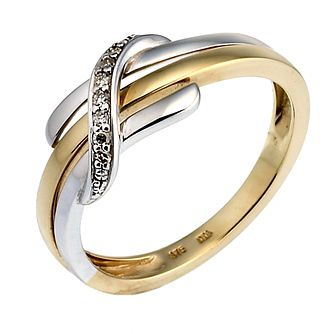 9ct white and yellow gold diamond ring - Product number 6763693