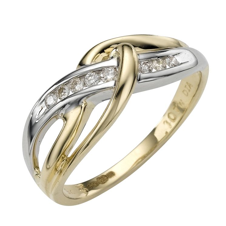 9ct two-colour gold diamond ring - Product number 6764096