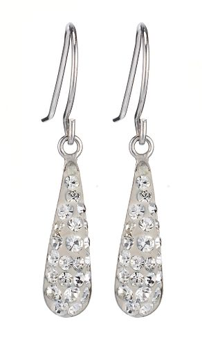 9ct White Gold Crystal Drop Earrings - Product number 6835732