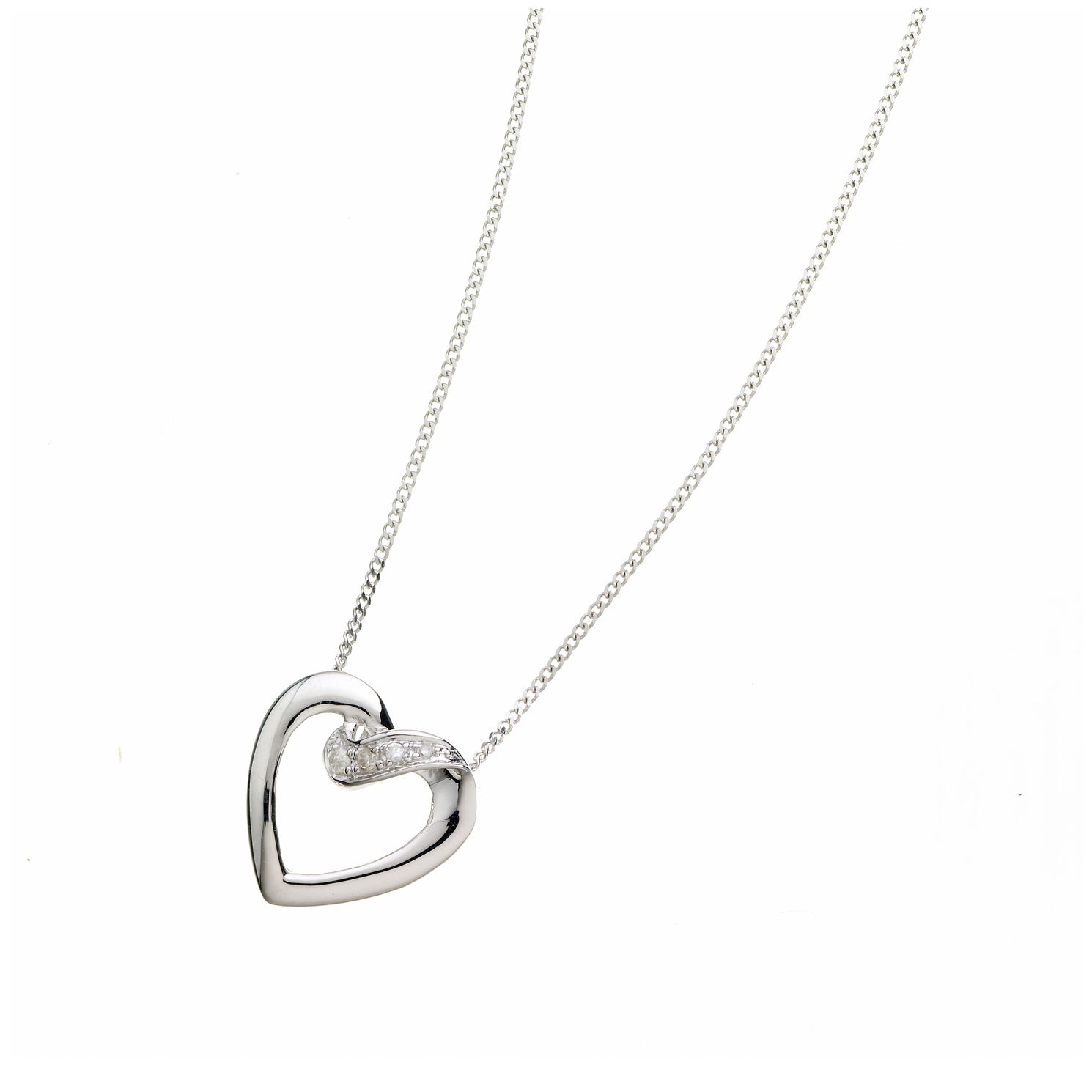 9ct white gold diamond heart pendant ernest jones 9ct white gold diamond heart pendant product number 6842127 aloadofball Choice Image