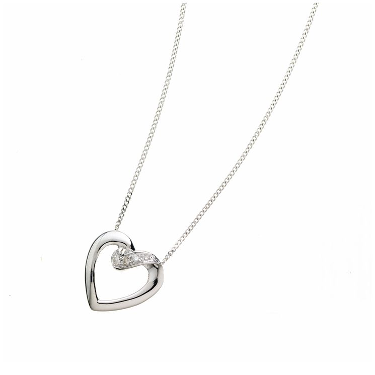 9ct white gold diamond heart pendant - Product number 6842127