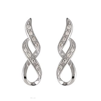 9ct white gold with diamond twist earrings - Product number 6842542