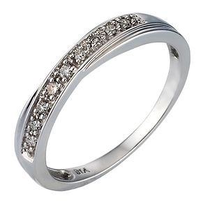 9ct White Gold Diamond Crossover Ring - Product number 6844960