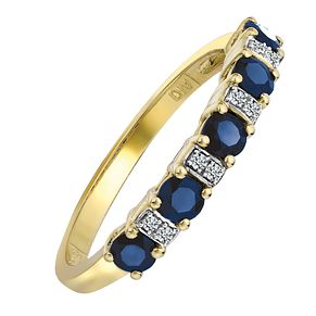 9ct Yellow Gold Rhodium Plated Sapphire and Diamond Ring - Product number 6850553