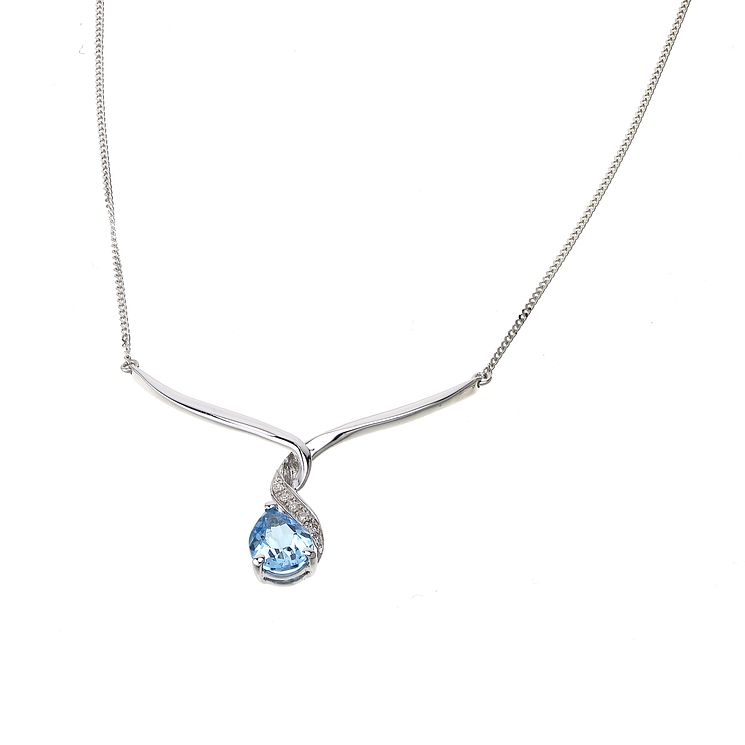 9ct white gold blue topaz and diamond wave necklace - Product number 6864686