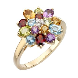 9ct gold diamond and multi coloured stones ring - Product number 6866786