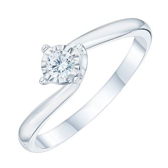 9ct White Gold 0.10 Carat Twist Illusion Solitaire Ring - Product number 6889492