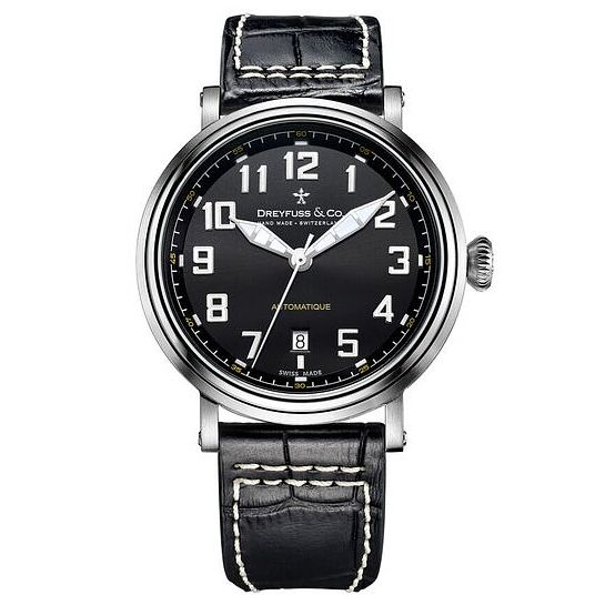 Dreyfuss & Co Men's Black Leather Strap Watch - Product number 6890172