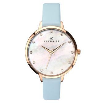 Accurist Ladies' Blue Leather Strap Watch - Product number 6891802