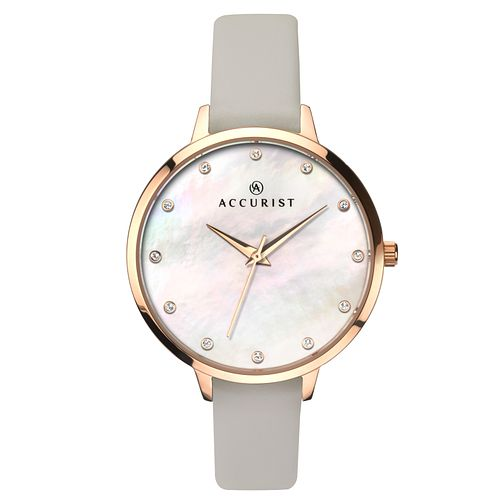 Accurist Ladies' Grey Leather Strap Watch - Product number 6891810