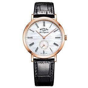 Rotary Ladies' Rose Gold Plated Black Leather Strap Watch - Product number 6892124