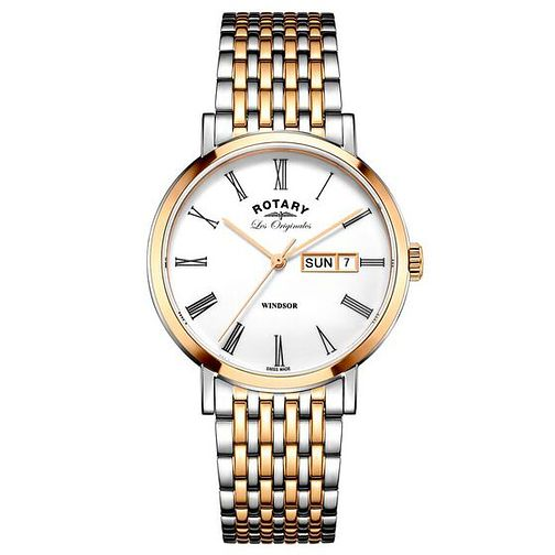 Rotary Men's Two Tone Rose Gold Plated Bracelet Watch - Product number 6892167