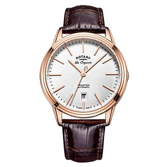 Rotary Gents' Rose Gold Brown Leather Strap Watch - Product number 6892272