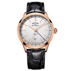 Rotary Men's Rose Gold Plated Black Leather Strap Watch - Product number 6892280