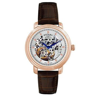 Rotary Men's Rose Gold Skeleton Bracelet Watch - Product number 6892299