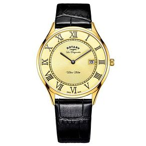 Rotary Men's Gold Plated Black Leather Strap Watch - Product number 6892302