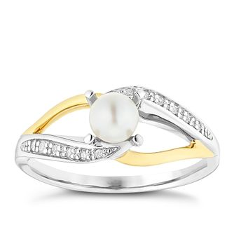 Silver and 9ct Gold Pearl and Diamond Ring - Product number 6892655