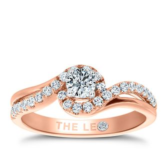 Leo Diamond 18ct Rose Gold 1/2ct II1 Diamond Halo Ring - Product number 6898467