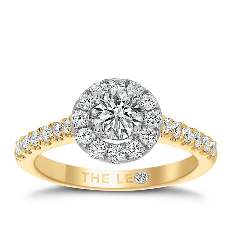 Leo Diamond 18ct Yellow Gold 1ct Diamond Round Halo Ring - Product number 6900860
