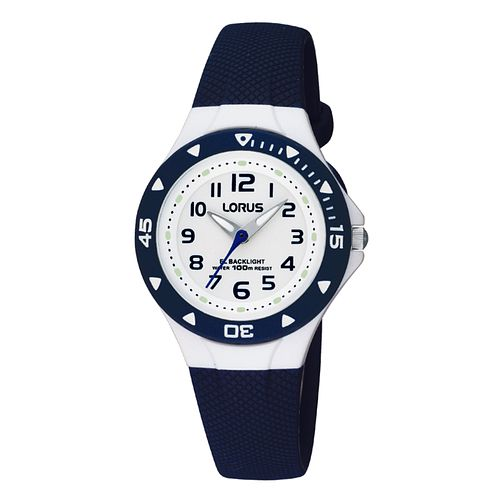 Lorus Children's White Dial Blue Rubber Strap Watch - Product number 6907938