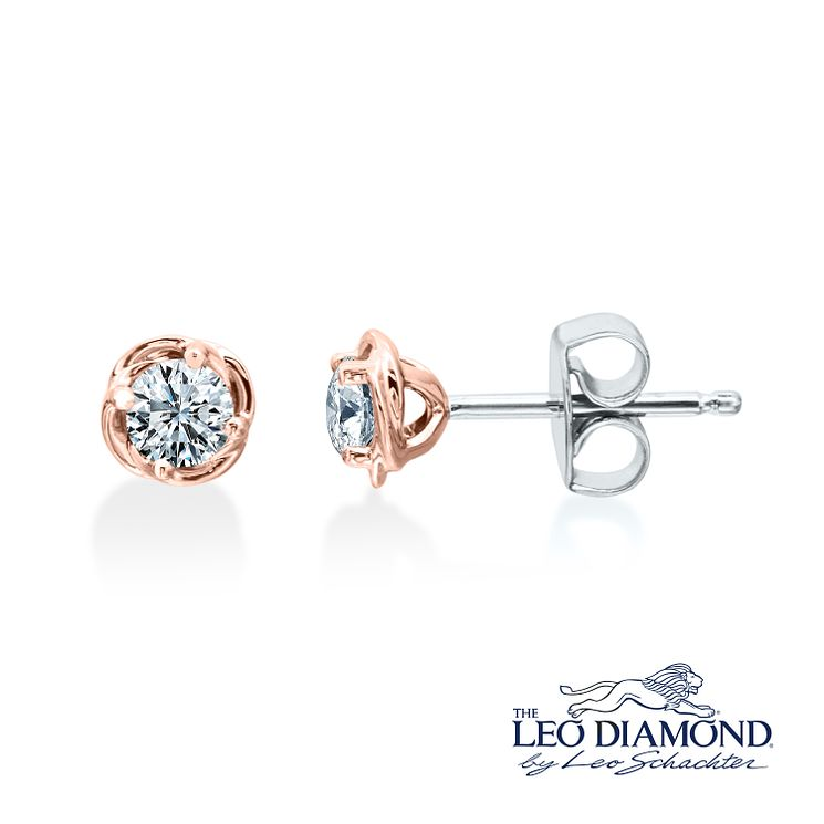 Leo Diamond 18ct Rose Gold 0.50ct Diamond Earrings - Product number 6908675