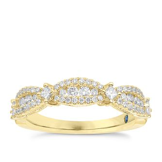 Vera Wang 18ct Yellow Gold 0.45ct Diamond 3 Station Band - Product number 6909213