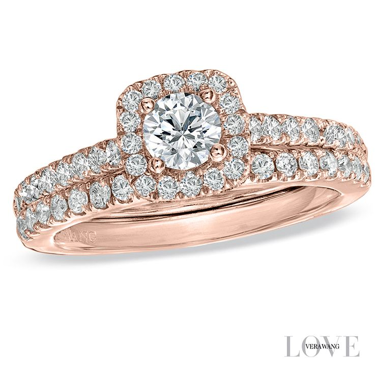 Vera Wang 18ct Rose Gold 0.95ct Diamond Halo Bridal Set - Product number 6909523