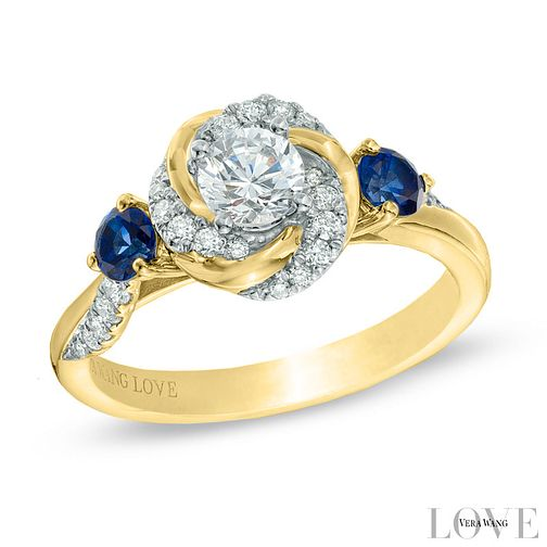 Vera Wang 18ct Yellow Gold 0.58ct Diamond and Sapphire Ring - Product number 6910106