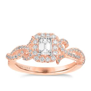 Vera Wang 18ct Rose Gold 0.70ct Diamond Halo Ring - Product number 6910475