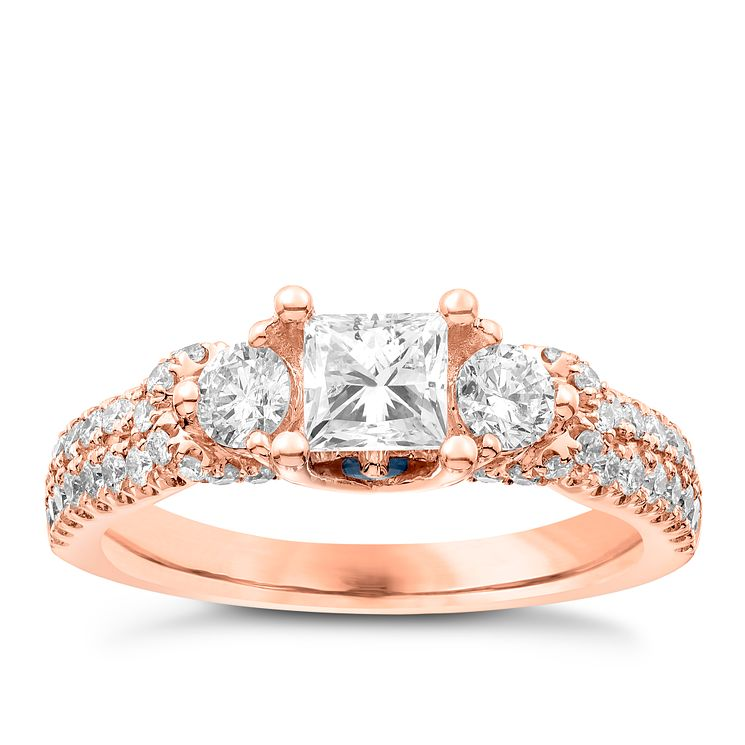 Vera Wang 18ct Rose Gold 1.30ct 3 Stone Diamond Ring - Product number 6910750