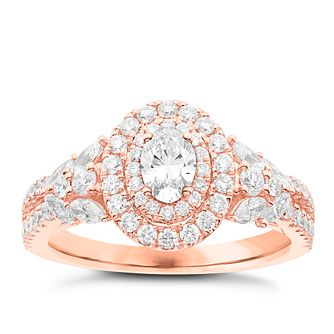 Vera Wang 18ct Rose Gold 1.18ct Diamond Double Halo Ring - Product number 6911307