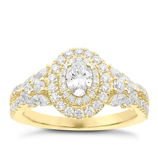 Vera Wang 18ct Yellow Gold 1.18ct Diamond Double Halo Ring - Product number 6911579