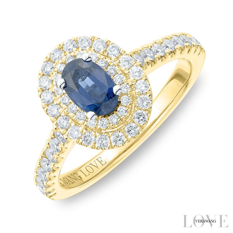 Vera Wang 18ct Yellow Gold 0.45ct Diamond Sapphire Ring - Product number 6912109