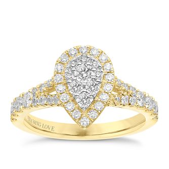 Vera Wang 18ct Yellow Gold 0.70ct Diamond Pear Cluster Ring - Product number 6912915