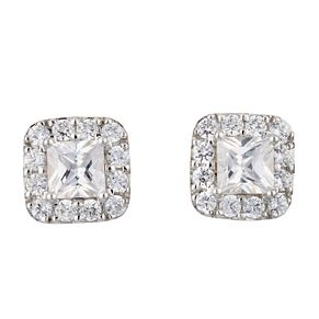 9ct white gold cubic zirconia square cluster stud earrings - Product number 6912923