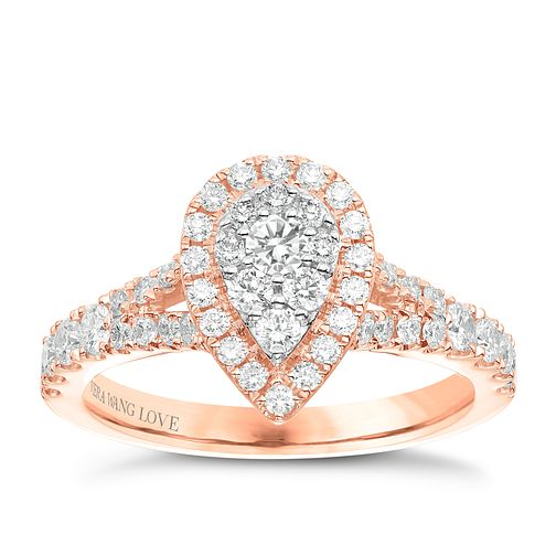 Vera Wang 18ct Rose Gold 0.70ct Diamond Pear Cluster Ring - Product number 6914292